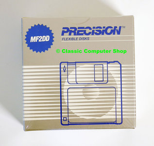 New & sealed Precision 3.5'' MF2DD DS/DD double sided double density floppy disks unformatted box of 10p - vintage retro 80s
