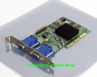 Matrox Millennium G450 Dualhead 32MB MGI G45+MDHA32DB dual VGA graphics video AGP PC card adapter