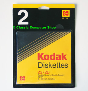 New & sealed Kodak 5.25'' 2S 2D MD2 DS/DD double sided double density floppy disks unformatted box of 2p - 2 pack NOS vintage retro 80s Acorn BBC Apple IIe Atari 800XL Commodore C64 IBM PC XT DOS Ta