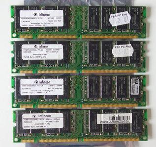 Set 4x Infineon HYS64V32220GU-7.5-C2 / HP 1818-8792 256MB 1GB kit PC133 CL3 168-pin DIMM SDRAM memory modules - P1538-63010