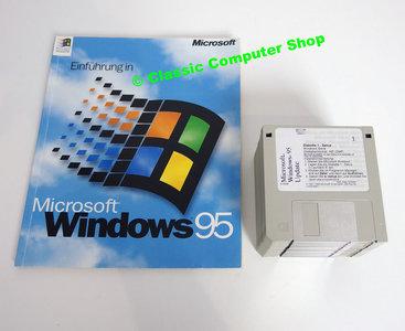 Microsoft Windows 95 German Deutsch Upgrade 3.5'' disk PC operating system w/ handbook & Internet Explorer - vintage retro 90s