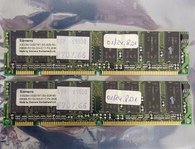 Set 2x Siemens SIE3264133G0MT-SG-G2B16D 256MB 512MB kit PC133 CL3 168-pin DIMM SDRAM memory modules