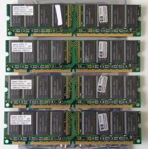 Set 4x Hynix HYM71V32635HCT8-HD AA / HP 1818-8792 256MB 1GB kit PC133 CL3 168-pin DIMM SDRAM memory modules