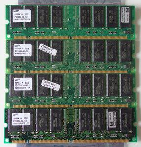 Set 4x Samsung M366S3323DTS-C7A / HP 1818-8792 256MB 1GB kit PC133 CL3 168-pin DIMM SDRAM memory modules - P1538-63010 COMPAQ P/N 140134-001