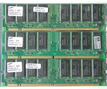 Set 3x Samsung M366S3323DTS-C7A / COMPAQ P/N 140134-001 256MB 768MB kit PC133 CL3 168-pin DIMM SDRAM memory modules - HP 1818-8792 P1538-63010