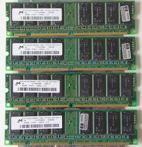 Set 4x Micron MT16LSDT3264AG-133E1 / HP 1818-8792 256MB 1GB kit PC133 CL3 168-pin DIMM SDRAM memory modules - P1538-63010