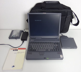 Toshiba Tecra 8000 laptop | 14.1'' TFT LCD | Pentium II 366MHz | Yamaha OPL3 | 6GB HDD | 192MB RAM | CD-ROM | FDD | notebook portable computer DOS Windows 9x gaming vintage retro game