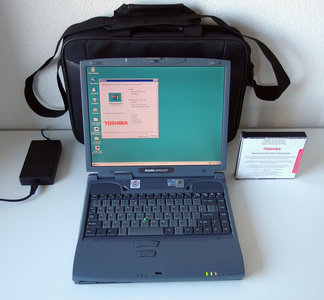 Toshiba Satellite 4090XCDT laptop | 14.1'' TFT LCD | Celeron 400MHz | 4.3GB HDD | 128MB RAM | CD-ROM | FDD | Windows 95 | notebook portable computer DOS gaming vintage retro game