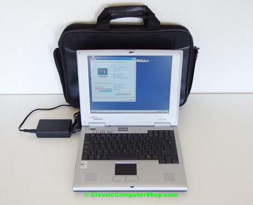 Fujitsu Siemens Liteline laptop | 12.1'' TFT LCD | AMD K6-2 500MHz | 5GB HDD | 64MB RAM | CD-ROM | FDD | Windows 98 SE | notebook portable computer DOS gaming vintage retro game
