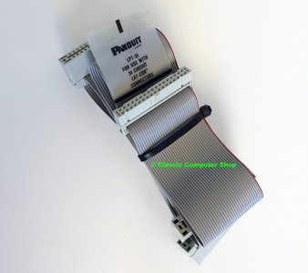 Panduit LPT-34 5.25'' PC floppy disk drive 34-pin internal flat ribbon twisted cable 59cm w/ 3x card edge connector - FDD 5.25 inch vintage DOS