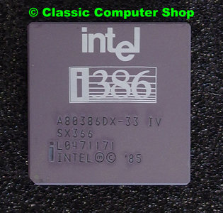 Intel 386 A80386DX-33 IV SX366 33MHz PGA132 processor - i386 386DX CPU 132 pin vintage retro 90s