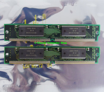 Set 2x Hyundai HY5118164BJC-60 8MB 16MB kit 60ns 72-pin SIMM non-parity EDO RAM memory modules - vintage retro 90s