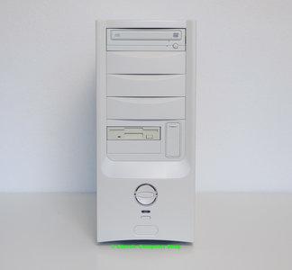 Custom midi tower PC Pentium III 667MHz | 256MB RAM | GeForce FX5500 | DVD-ROM | FDD | Windows 98SE - PCI USB parallel LPT floppy diskette VGA DVI retro gaming game vintage