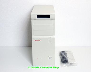 New Techmedia midi tower AT case enclosure beige w/ power supply - vintage retro NOS white 486 Pentium DOS PC