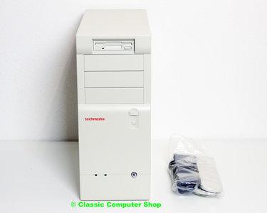 New Techmedia midi tower AT case enclosure beige w/ power supply & FDD - vintage retro NOS white 486 Pentium DOS PC