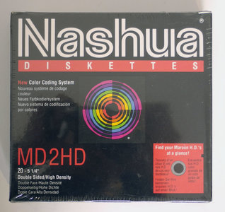New & sealed Nashua 5.25'' MD2HD DS/HD double sided high density floppy disks unformatted box of 20p - vintage retro 80s