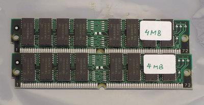 Set 2x SMART SM5321000-7 4 MB 4MB 8 MB 8MB kit 70 ns 70ns 72-pin SIMM non-parity FPM RAM memory modules - vintage retro 90s