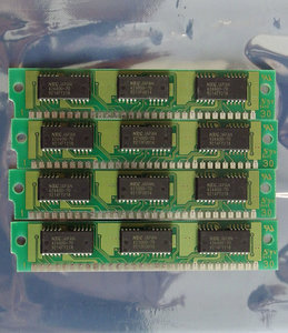 Set 4x NEC MC-421000A9BA-80 1 MB 1MB 4 MB 4MB kit 80 ns 80ns 30-pin SIMM parity RAM memory modules - vintage retro 80s