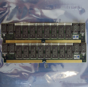 Set 2x Hitachi HM514256AJP8H 1 MB 1MB 2 MB 2MB kit 80 ns 80ns 72-pin gold contacts SIMM parity FPM RAM memory modules - vintage retro 90s Compaq 118666-001