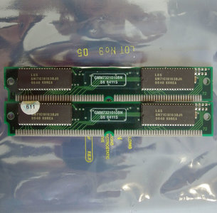 Set 2x LG Semicon GM71C18163BJ6 4 MB 4MB 8 MB 8MB kit 60 ns 60ns 72-pin SIMM non-parity EDO RAM memory modules - vintage retro 90s IBM FRU 92G7319