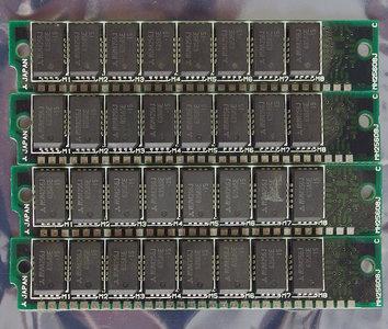 Set 4x Mitsubishi MH25608J-15 256 KB 256KB 1 MB 1MB kit 150 ns 150ns 30-pin SIMM non-parity RAM memory modules - vintage retro 80s Apple Macintosh Plus