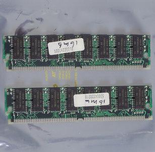 Set 2x Texas Instruments TI TMS417409ADJ-60 TM497FBK32I-60 16 MB 16MB 32 MB 32MB kit 60 ns 60ns 72-pin SIMM non-parity EDO RAM memory modules - vintage retro 90s