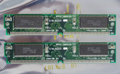 Set 2x Apple 670-0269 256 KB 256KB 512 KB 512KB kit 100 ns 100ns VRAM 68-pin SIMM memory modules - Macintosh LC LCII vintage retro 90s