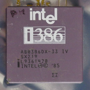 Intel 386 A80386DX-33 IV SX219 33 MHz 132 pin PGA processor - 386DX i386 33MHz CPU PGA132 vintage retro 90s