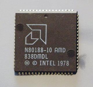 AMD 80188 N80188-10 10 MHz PLCC68 CPU - 10MHz processor vintage retro 80s