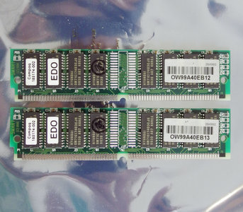 Set 2x Compaq 185174-002 16 MB 16MB 32 MB 32MB kit 60 ns 60ns 72-pin SIMM non-parity EDO RAM memory modules - vintage retro 90s