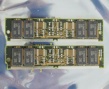 Set 2x SEC KMM5322104AU-6 8 MB 8MB 16 MB 16MB kit 60 ns 60ns 72-pin SIMM non-parity EDO RAM memory modules - vintage retro 90s