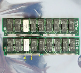 Set 2x Samsung KMM5361003B-8 4 MB 4MB 8 MB 8MB kit 80 ns 80ns 72-pin SIMM parity FPM RAM memory modules - vintage retro 90s