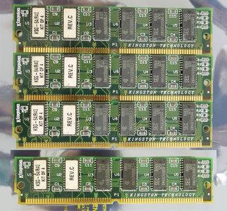 Set 4x Kingston KSG-64/R40 16 MB 16MB 64 MB 64MB kit 70 ns 70ns 72-pin gold contacts SIMM parity FPM RAM memory modules - vintage retro 90s