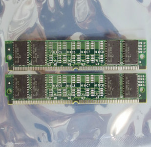 Set 2x Fujitsu ESA2UN3282A-60JS-S 8 MB 8MB 16 MB 16MB kit 60 ns 60ns 72-pin SIMM non-parity EDO RAM memory modules - vintage retro 90s