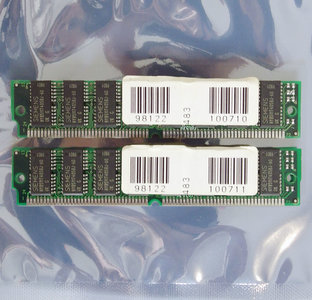 Set 2x Siemens HYB5117405BJ-60 32 MB 32MB 64 MB 64MB kit 60 ns 60ns 72-pin SIMM non-parity EDO RAM memory modules - vintage retro 90s
