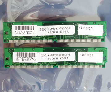 Set 2x SEC KMM5321004CV-6 4 MB 4MB 8 MB 8MB kit 60 ns 60ns 72-pin SIMM non-parity EDO RAM memory modules - vintage retro 90s