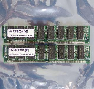 Set 2x Transcend Nanya NT511740C5J-60 16 MB 16MB 32 MB 32MB kit 60 ns 60ns 72-pin SIMM non-parity EDO RAM memory modules - vintage retro 90s
