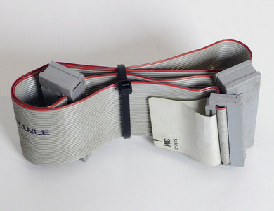 3M 3490-3 5.25'' PC floppy disk drive 34-pin internal flat ribbon cable 47 cm w/ 2x card edge connector - FDD 5.25 inch vintage DOS