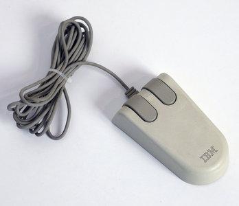 IBM 6450350 2 button PS/2 white PC mouse - 90X6778 vintage retro 80s 90s dos windows 3.1 3.x