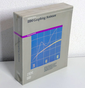 New & sealed IBM Graphing Assistant 5.25'' floppy disk PC program complete in box - DOS NOS vintage retro 80s
