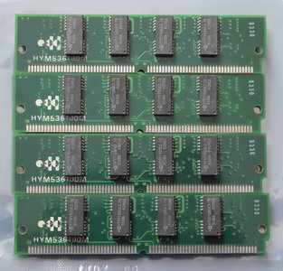 Set 4x Hyundai HYM536100M 4MB 16MB kit 70ns 72-pin SIMM parity FPM RAM memory modules - vintage retro 90s