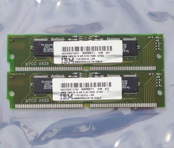 Set 2x IBM 54H8511 4MB 8MB kit 60ns 72-pin SIMM non-parity EDO RAM memory modules - vintage retro 90s