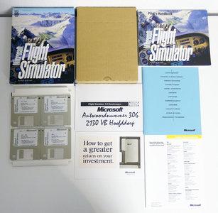 PC 3.5'' disk game Microsoft Flight Simulator 5.0 complete - CIB big box FS5 DOS 386 486 vintage retro 90s