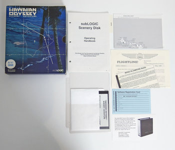 PC 5.25'' floppy disk game subLOGIC Hawaiian Odyssey scenery adventure complete - CIB big box flight simulator pack add-on expansion vintage retro 80s
