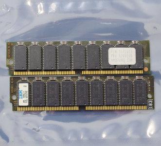 Set 2x IBM FRU 92F0105 P/N 71F7010 4MB 8MB kit 70ns 72-pin gold contacts SIMM parity FPM RAM memory modules - vintage retro 90s