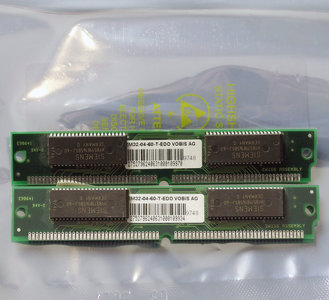Set 2x Siemens HYB5118165BSJ-60 8MB 16MB kit 60ns 72-pin SIMM non-parity EDO RAM memory modules - vintage retro 90s