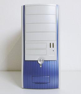 New & sealed AOpen H500C midi tower ATX case enclosure white / blue w/ 300W AOpen power supply - vintage retro NOS
