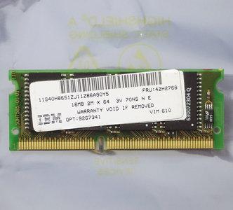 IBM FRU 42H2768 16MB 70ns 144-pin SO-DIMM EDO RAM memory module - vintage retro 90s