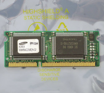 Samsung KMM966G256BQN-G0 / IBM FRU 01K1185 2MB 100MHz 144-pin SO-DIMM SGRAM memory module - vintage retro 90s