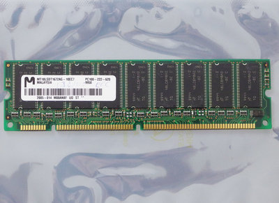 Micron MT18LSDT1672AG-10EC7 128MB PC100 CL2 168-pin DIMM ECC SDRAM memory module